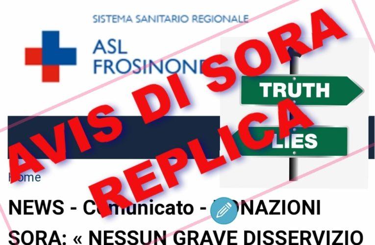 ODV AVIS SORA: Replica al comunicato ufficio stampa della ASL di FROSINONE