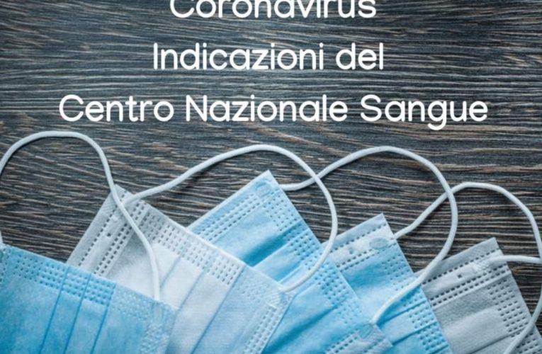 Corona Virus le Indicazioni del CNS per i Donatori di Sangue