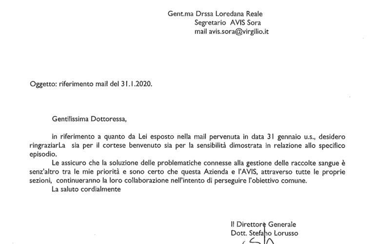 Il Direttore Generale della ASL Risponde alla nota del nostro Segretario Dott.ssa Reale Loredana e Ringrazia L'AVIS di SORA.